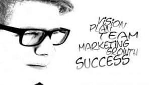 Dibujo en blanco y negro de joven con gafas