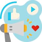 Icono de recomendaciones de influencers para páginas web económicas
