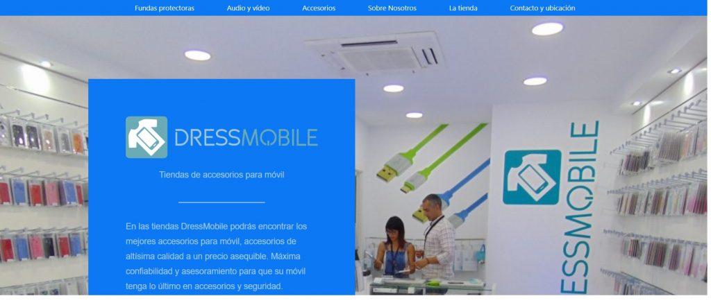 pantallazo de diseño web económico de tienda accesorios móvil