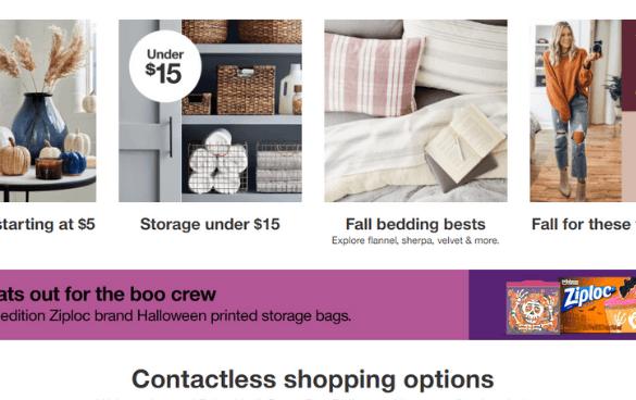 Captura de pantalla de una web de tienda online