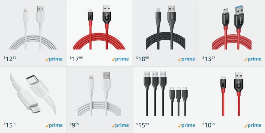 Ejemplo de listados de productos de Amazon