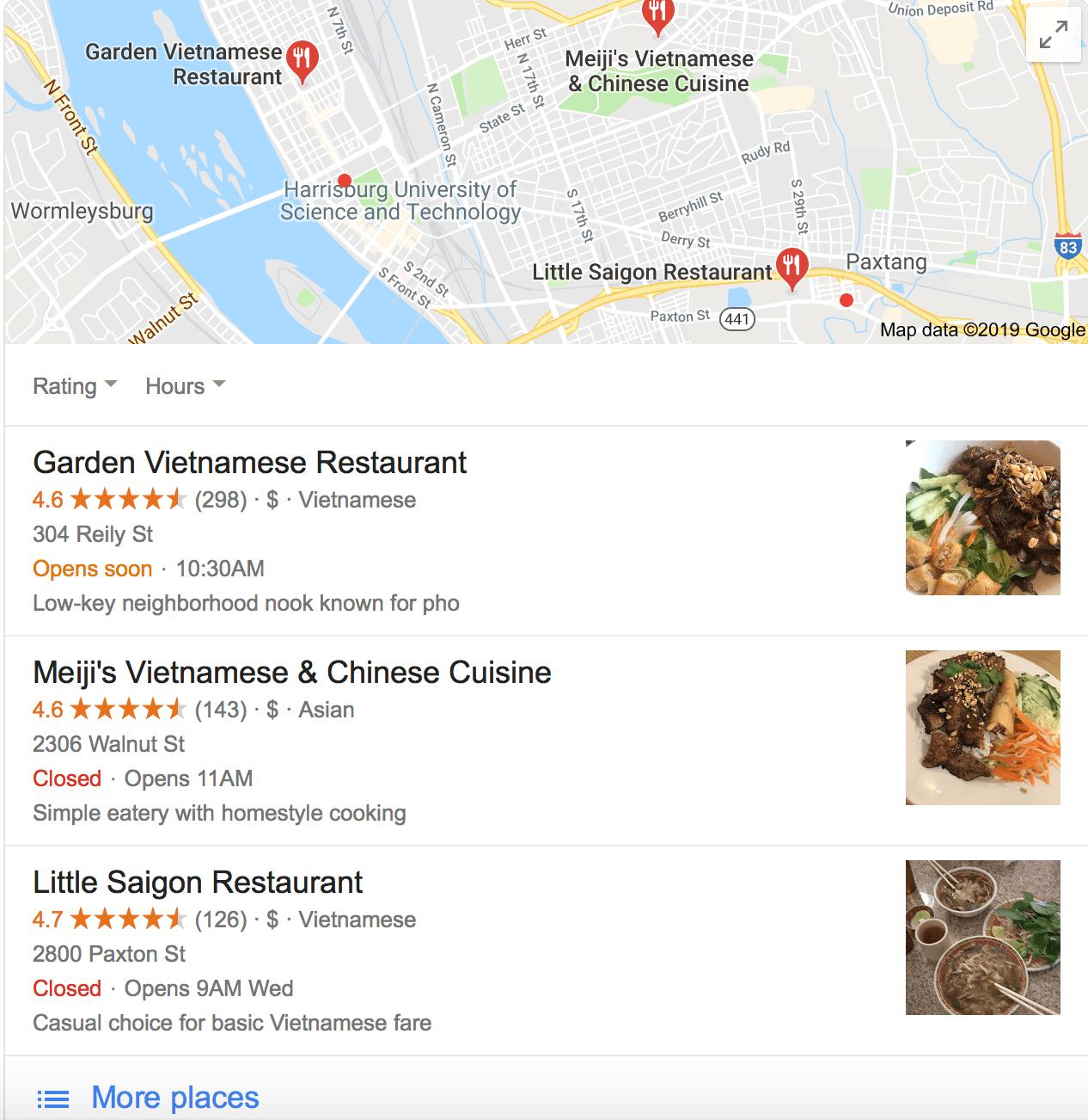 ejemplo de listado local de Google