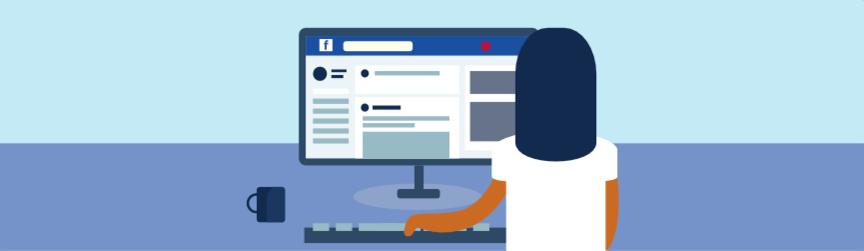 alguien navegando por facebook en una computadora de escritorio