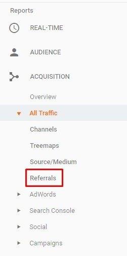 pestaña de referencias en google analytics