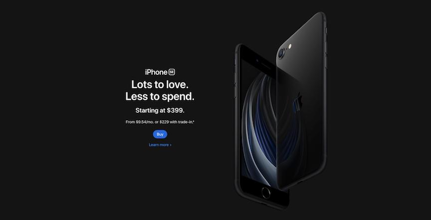 Imagen de iPhone en el sitio web de Apple