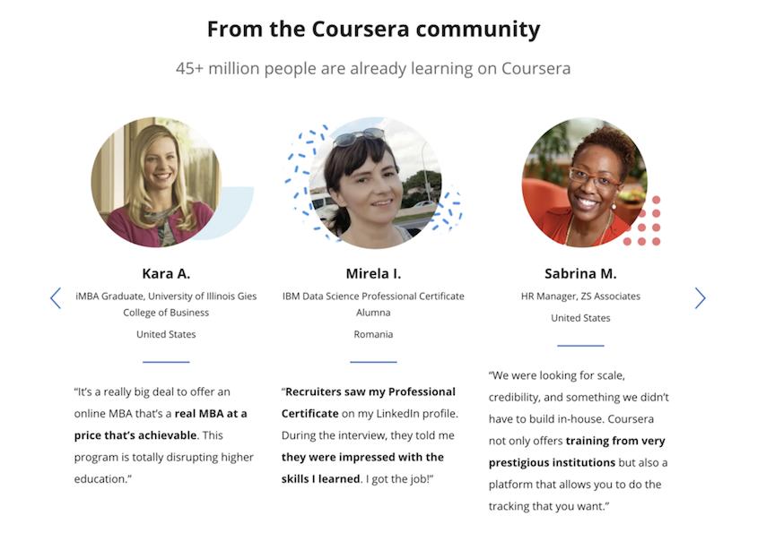 Testimonios en el sitio web de Coursera
