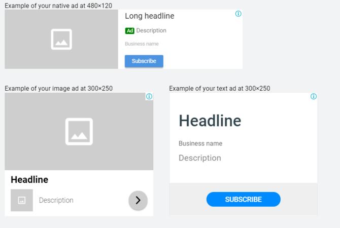 Vista previa del anuncio de display adaptable