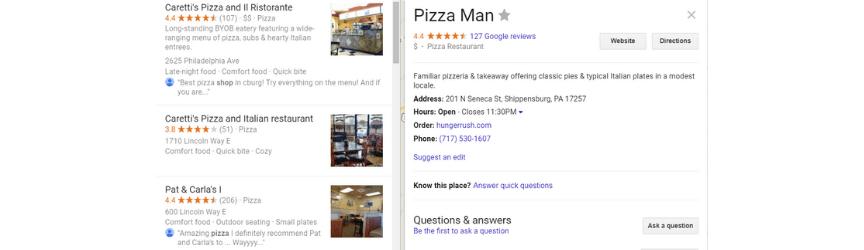 un ejemplo de una ficha de Google My Business