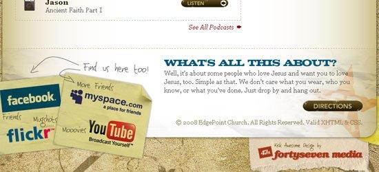 Edgepoint Church: captura de pantalla en el pie de página.