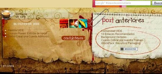 Blog Amuki: captura de pantalla en el pie de página.