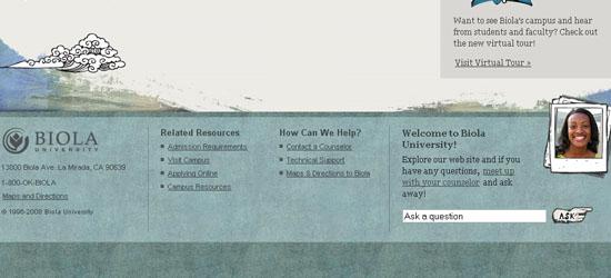 Biola Undergrad: captura de pantalla en el pie de página.