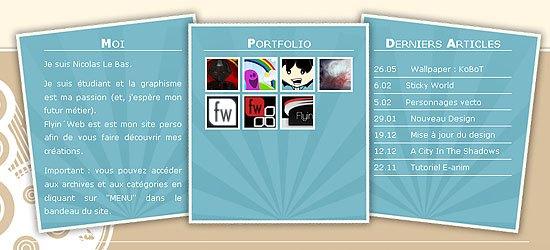 Flyin Web: captura de pantalla en el pie de página.