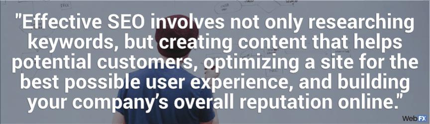 SEO efectivo es investigar, crear contenido, optimizar el sitio y construir reputación en línea