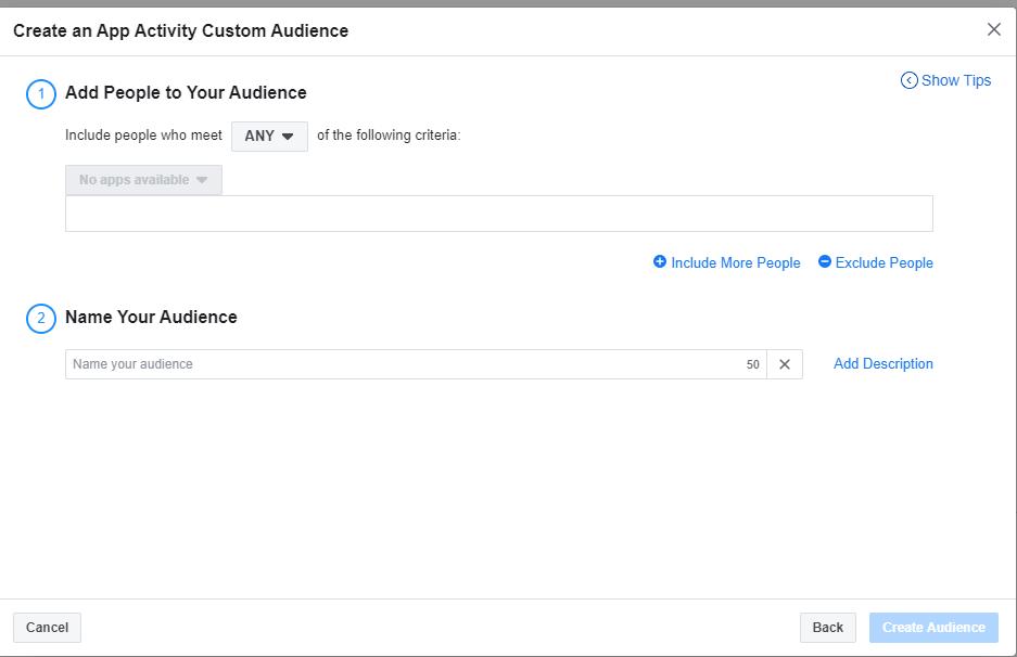 audiencia de la aplicación personalizada