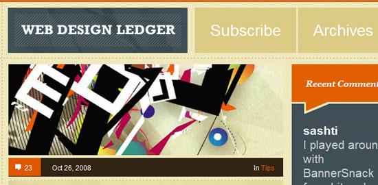 Libro mayor de diseño web: captura de pantalla.