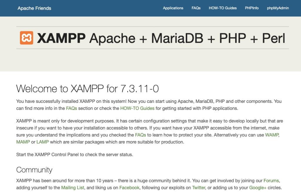 Página de bienvenida de XAMPP