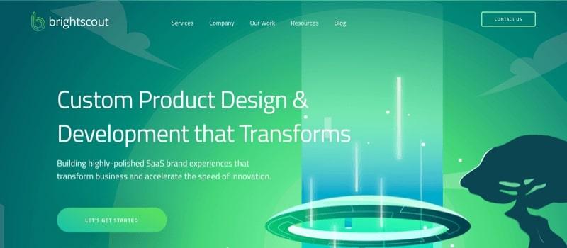 El tema futurista del sitio Brightscout