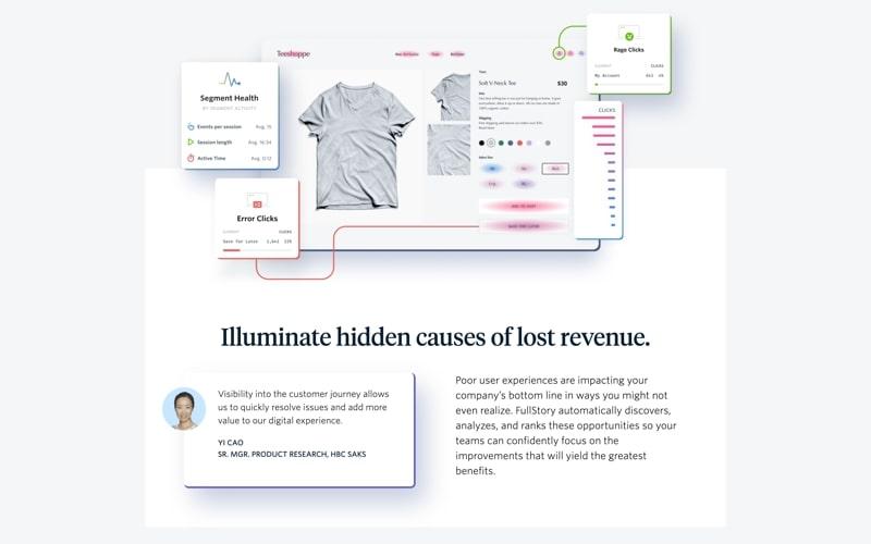 Ejemplo de página de inicio de Fullstory