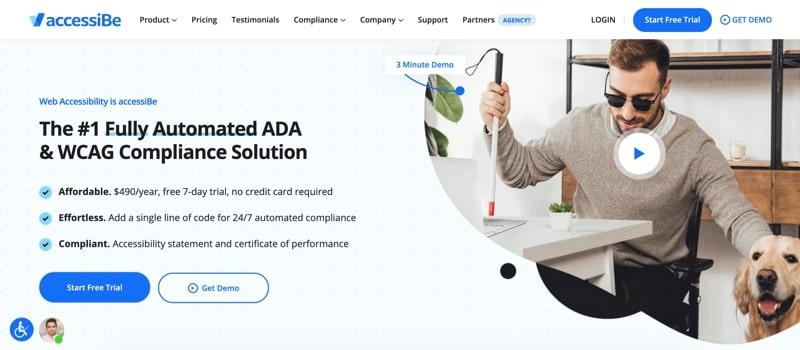Ejemplo de página de inicio de accessiBe