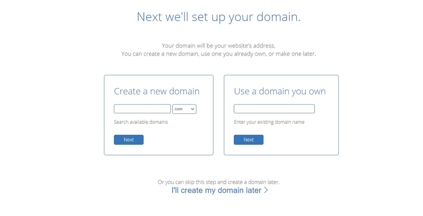 Bluehost crea nombre de dominio
