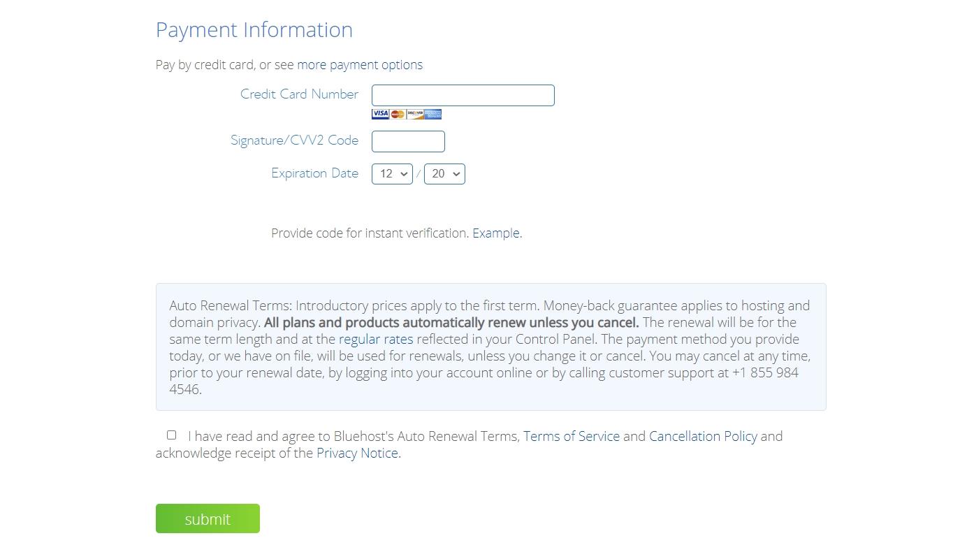 Información de pago de Bluehost