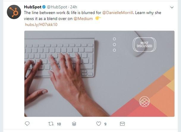 captura de pantalla de la publicación de twitter de hubspot