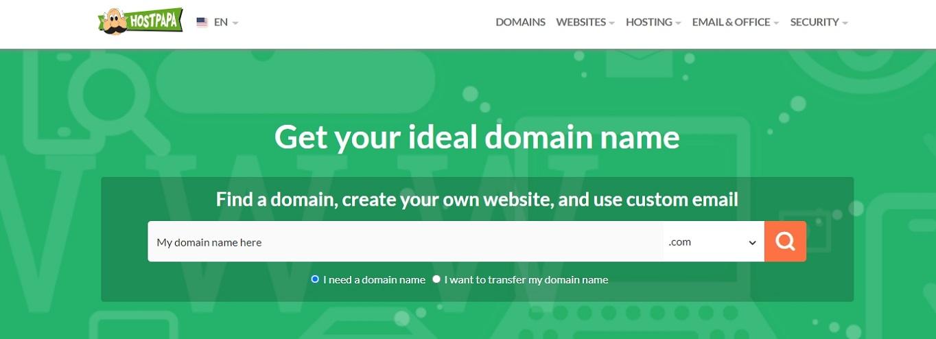 Generador de nombres de dominio de HostPapa noviembre de 2020