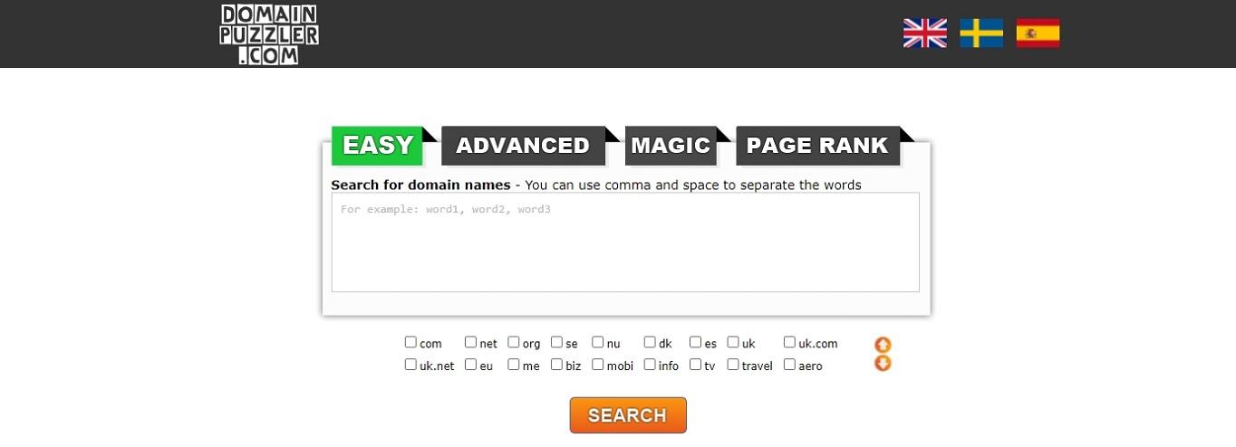 DomainPuzzler generador de nombres de dominio