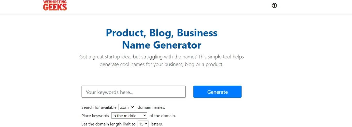 Generador de nombres de dominio WebHostingGeeks