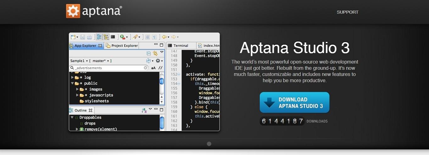 El sitio web de Aptana Studio 3, que es una de las mejores opciones de desarrollo web IDE.