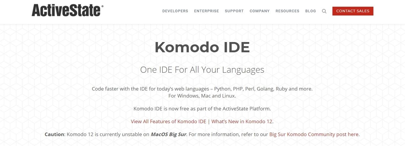 sitio web de Komodo IDE