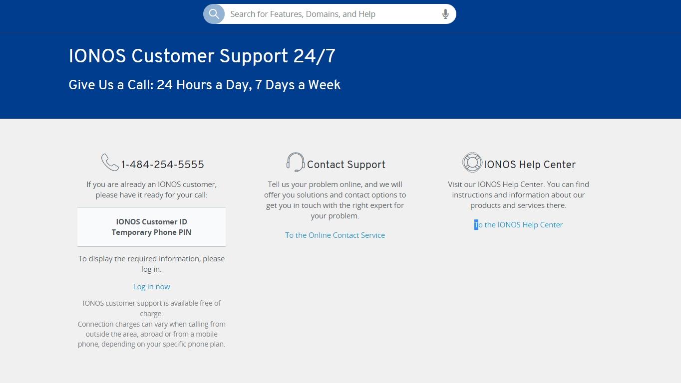 Opciones de soporte de IONOS