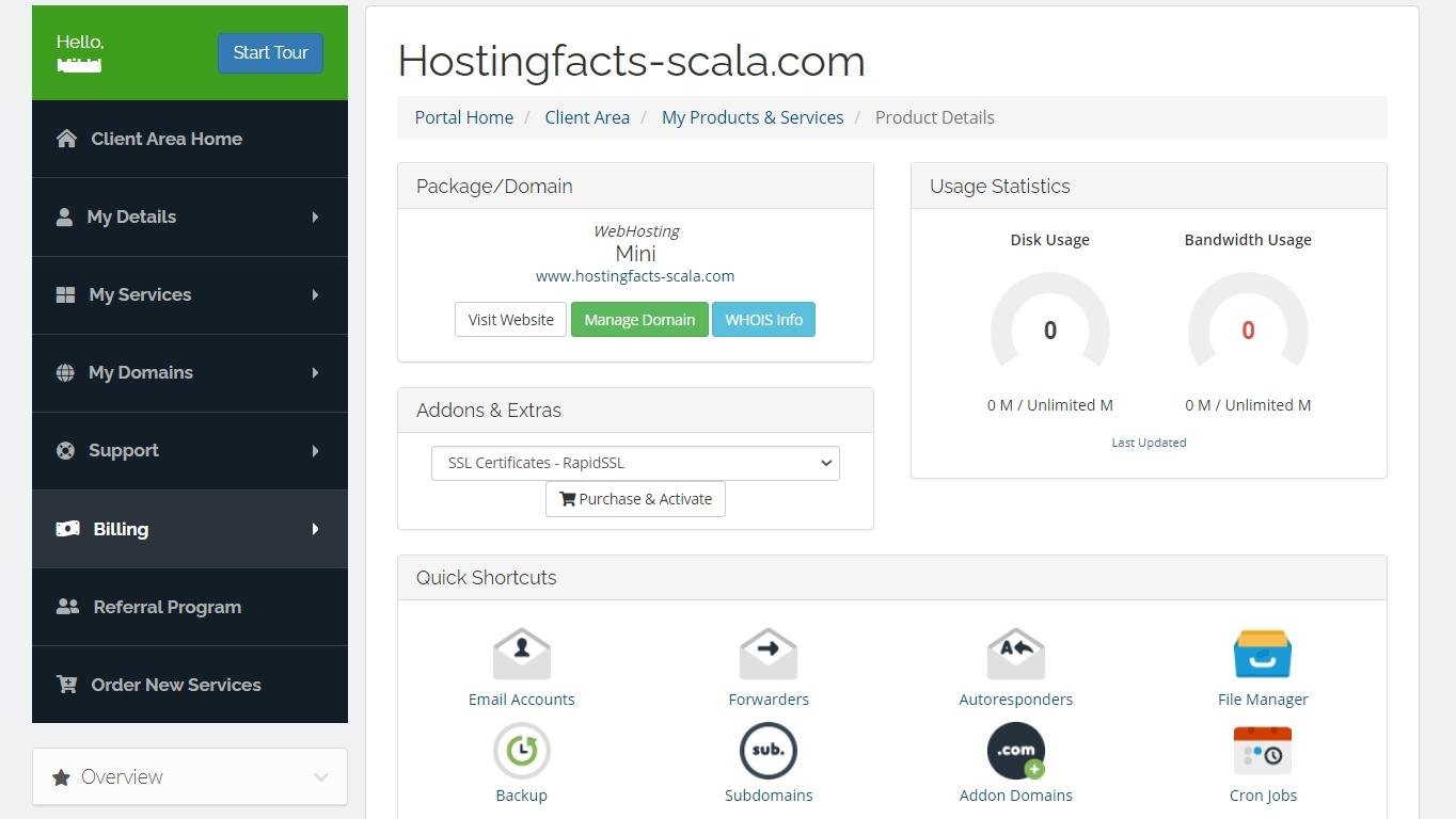 área de cliente de scala hosting