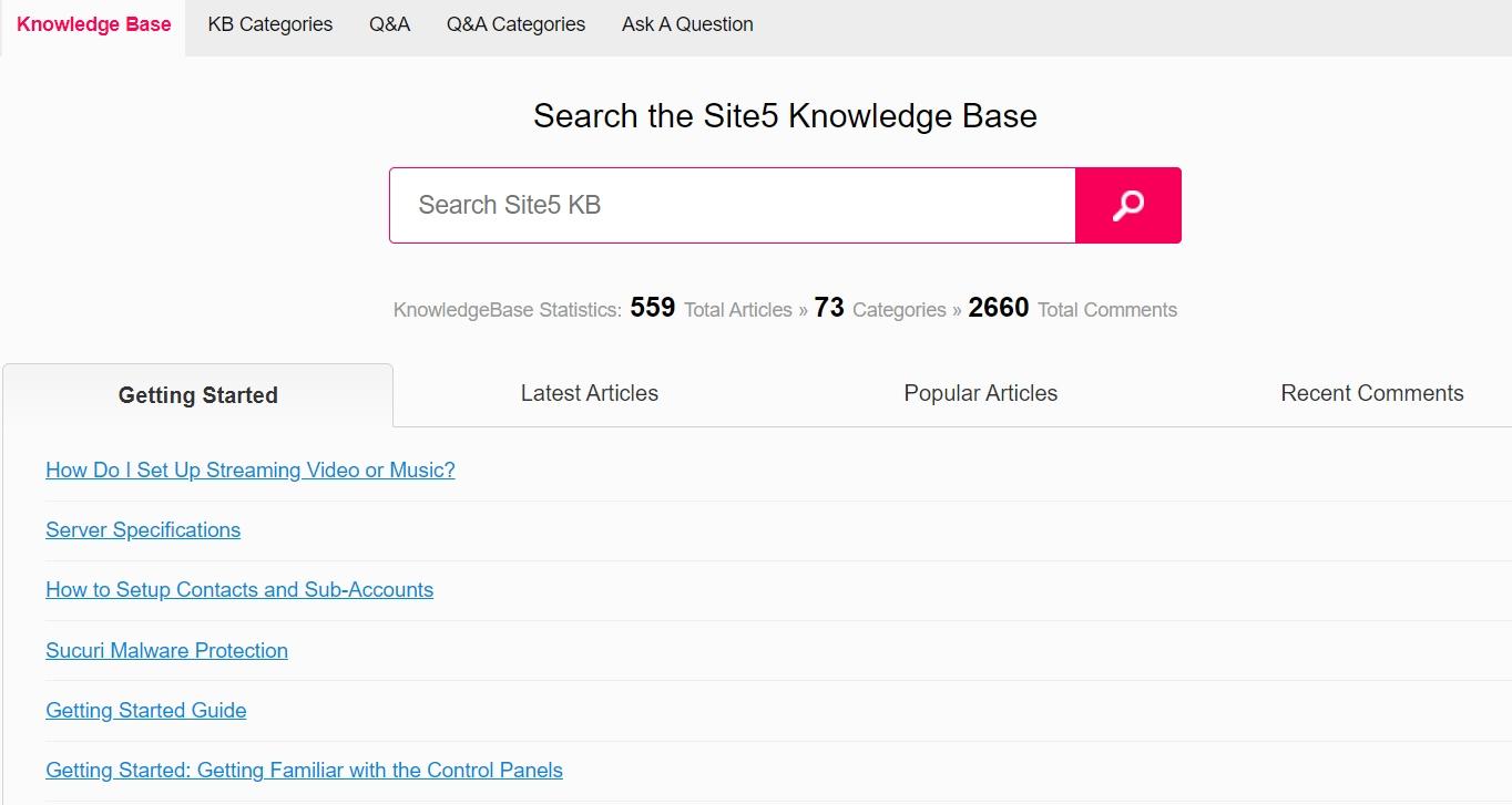 Base de conocimientos de Site5