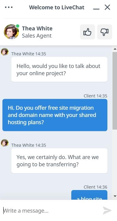 TMDHosting chat en vivo