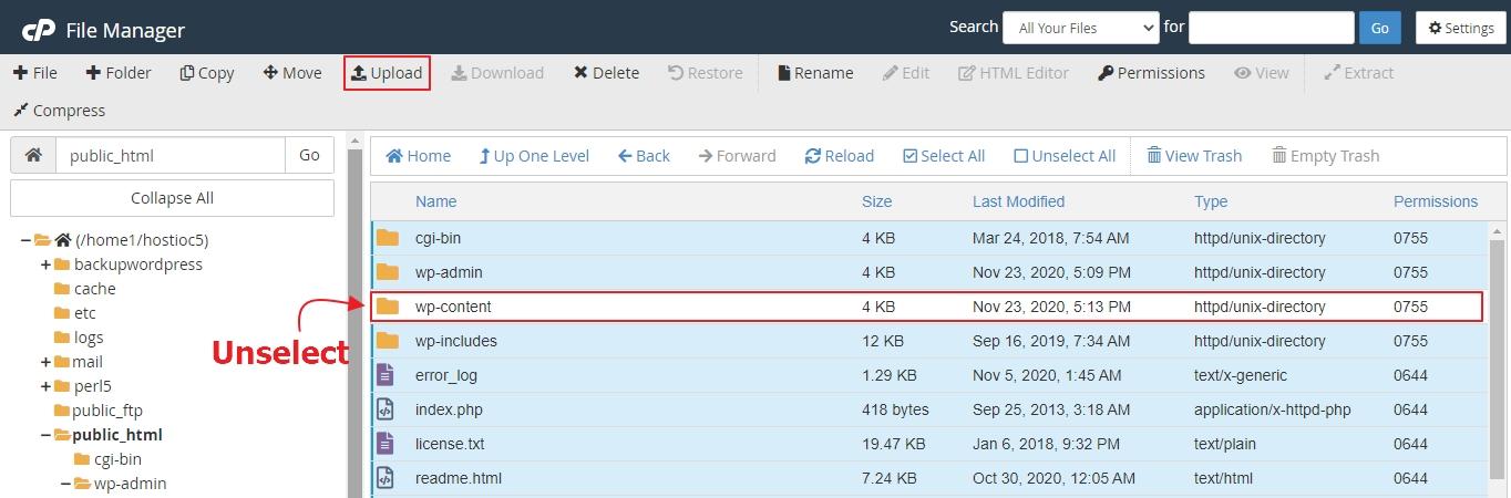cargar nuevos archivos de WordPress