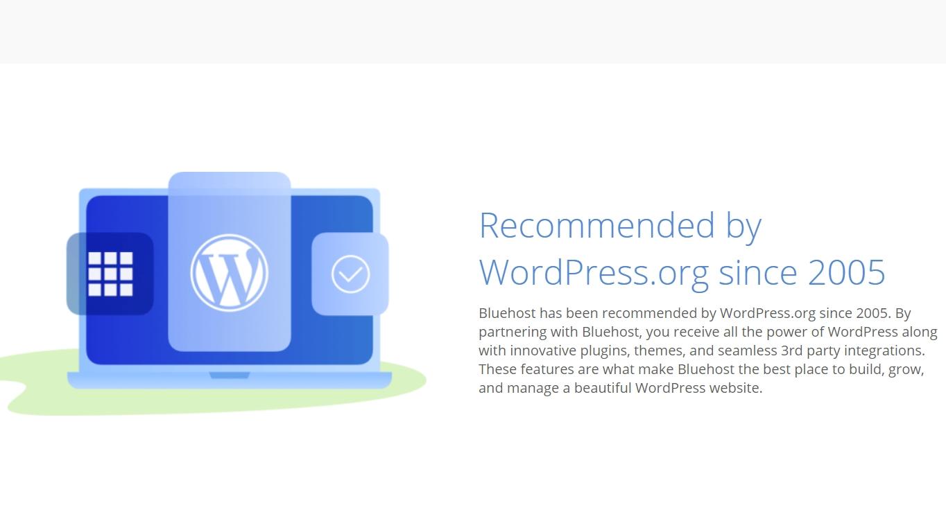 Recomendación oficial de Bluehost por WordPress.org