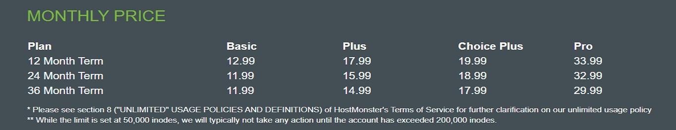 El precio de renovación de HostMonster se duplica después del primer período.