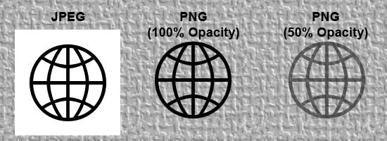 simulación de transparencia JPEG vs PNG
