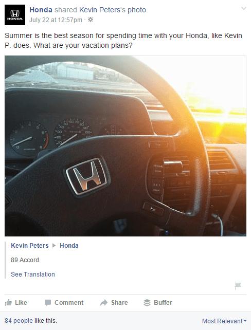 ejemplo de marca: publicación de Honda generada por el usuario