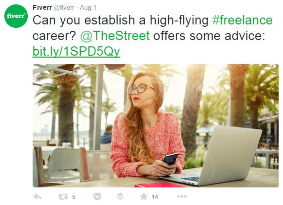 ejemplo de marca: Fiverr post