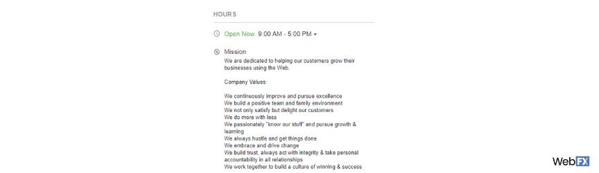 Una captura de pantalla de una sección acerca de optimizada para optimizar una página comercial de Facebook
