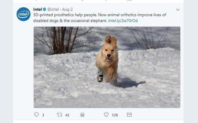 captura de pantalla de la publicación de Twitter de Intel