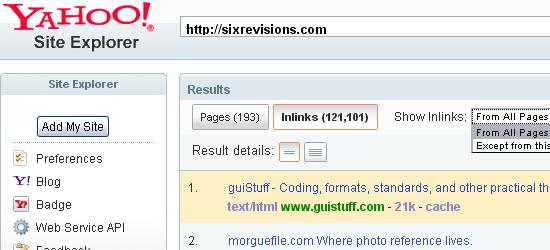 Yahoo! Explorador del sitio: captura de pantalla.