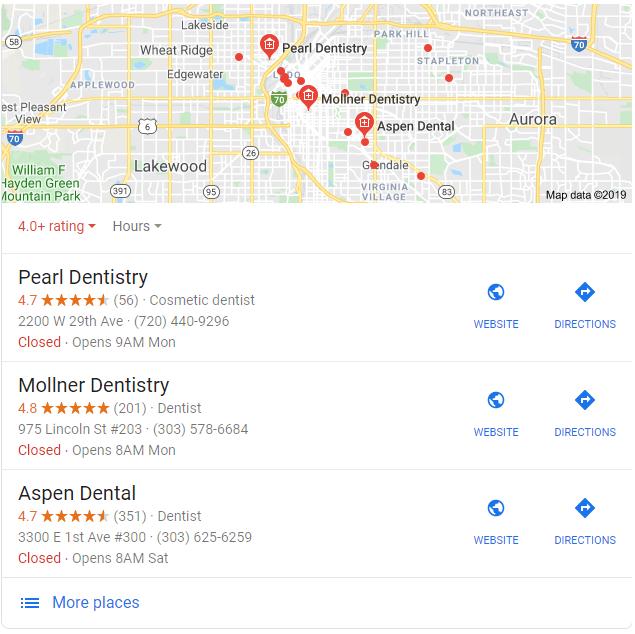 mapa dentista