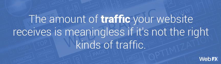 la cantidad de tráfico no tiene sentido si no es el tipo de tráfico adecuado