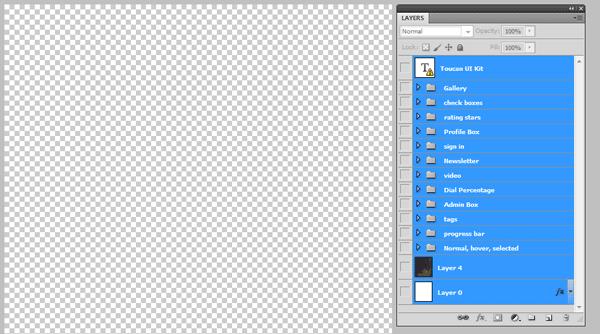 Un archivo de Photoshop donde todas las capas están ocultas.