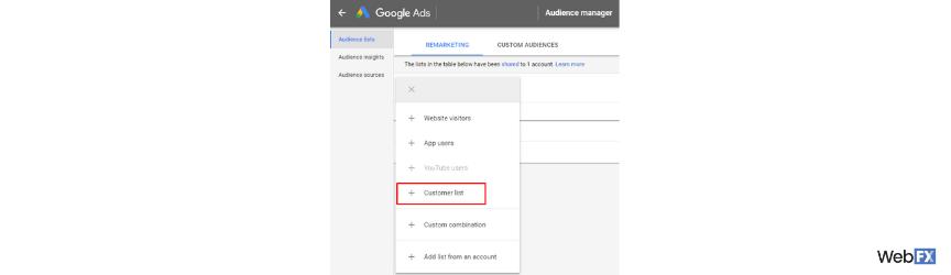Una captura de pantalla de un paso para crear una audiencia personalizada en Google Ads.