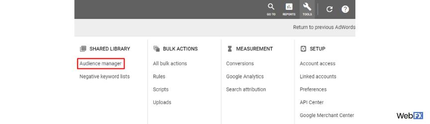 Una captura de pantalla del segundo paso para crear una audiencia en Google Ads