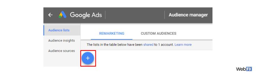 Una captura de pantalla del botón crear en Google Ads